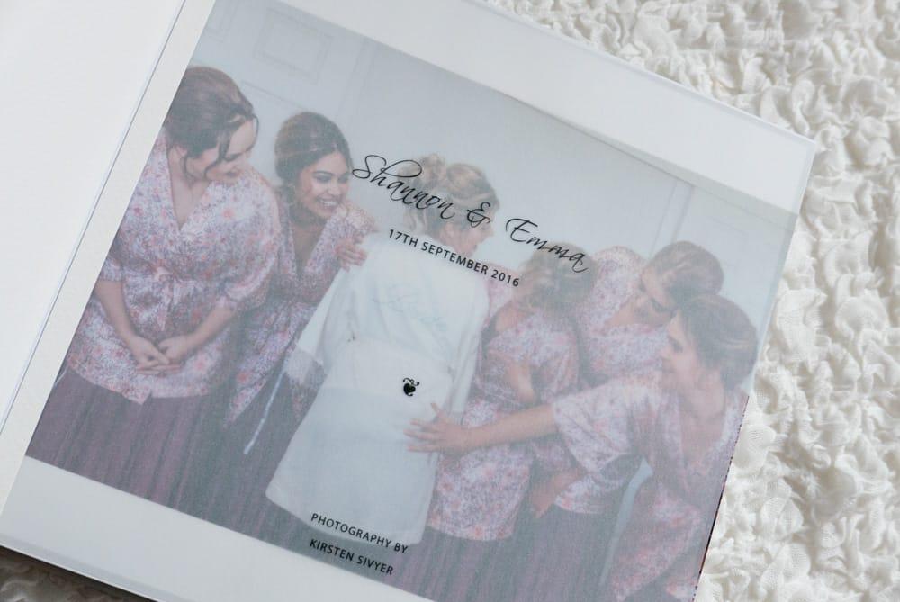 Beautiful wedding album with vellum flyleaf